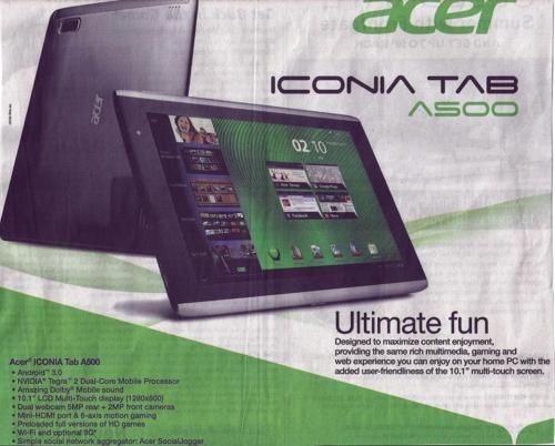 Advertentie Acer - verleden positief